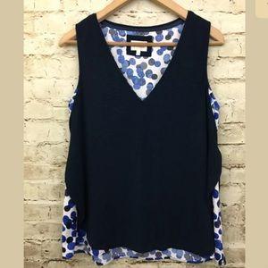 Deletta Womens Blue With Polka Dot Underlay Shirt